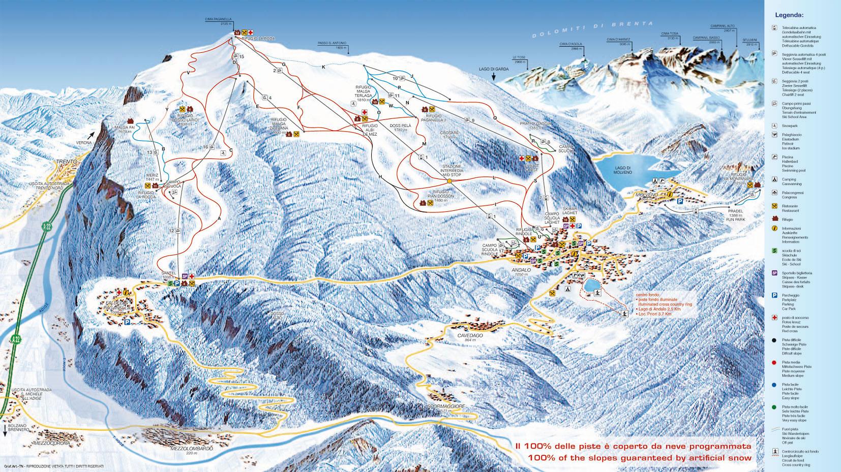 Paganella ski sjezdovky (mapa)